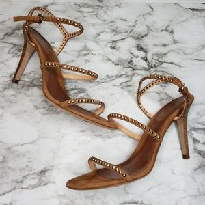 Sergio Rossi Brown Suede Studded Strappy Sandals